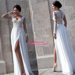 Wholesale 2015 Sexy Sheer Long Sleeves Lace Prom Dresses Sweetheart High Split Side Chiffon Formal Evening Dresses Summer Beach Wedding Gowns BO7594