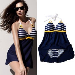 Wholesale 2015 New Sexy Swimsuit Stripe Plus Size Padded Navy Blue Halter Skirt Swimwear Women One Piece Swimsuit Beachwear Bathing Suit