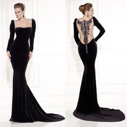 Wholesale 2015 Tarik Ediz Prom Dresses Black Velvet Square Neckline Sheer Back Long Sleeve Mermaid Court Train Evening Dresses Dhyz