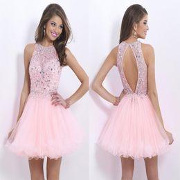 Wholesale 2015 Vestidos Homecoming moda novo projeto de rosa grânulos de tule pura lantejoulas sem encosto partido A linha curta feito sob encomenda tripulação barato venda quente