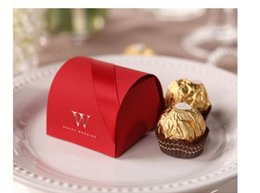 Wholesale 2015 Red Favor Boxes Chinese Red Favors Gifts Boxes with Ribbon or Wedding Ceremony Party