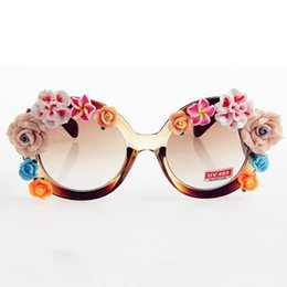 brand designer women round sunglasses vintage brown frame colorful flowers eyeglasses gl028 inexpensive eyeglass frames flowers