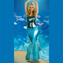 Wholesale 2015 new items Halloween Party Cosplay Anime Costume Role Playing Blue Mermaid Halter Skirt Costume Sexy Clothing FZ911