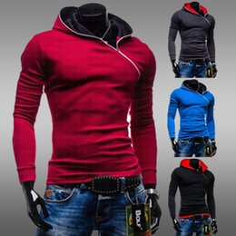 Wholesale New Brand Male Slim inclined zipper hoodies Fleece Casual Men s Sweatshirt Pullover Men Sportswear outerwear