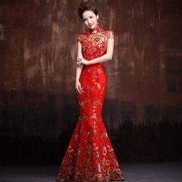 Wholesale Bride Red Vintage improved Cheongsam chinese dresses New Lace Mermaid Slim Short Sleeve Long Elegant Cheongsam Dress High collar Summer gown