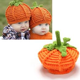 Wholesale Fashion Baby Pumpkin Hats Halloween hat Winter Warm Knit Wool Hat Beanie Crochet Warm Pumpkin Ball Cap gift