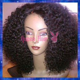 Discount ombre human hair wave Afro Kinky Curl Remy Hair Silk Top Full Lace Wig Baby Hair Around Brazilian Human Hair Lace Front Wigs STOCK!!
