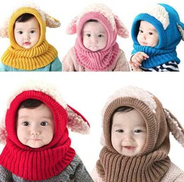 Wholesale New Arrivals Winter Baby Kids Children Warm Hat With Hooded Scarf Earflap Knit Wool Warmers Beanie Caps PX216