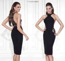 Wholesale Tarik Ediz Black Cocktail Dresses Cheap Sexy Sheath Sheer Back Lace Satin Knee Length Custom Short Party Prom Dress Formal Dress Gowns