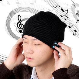 Wholesale NEW Soft Warm Beanie Bluetooth Music Hat Cap with Stereo Headphone Headset Speaker Wireless Mic Hands free for Men Women Gift V887