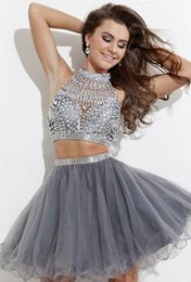 Wholesale 2015 Grey Beaded Short Tulle Two Piece Prom Dress with Rhinestones High Neck Crystal Beaded Ball Gown Mini Short Party Dresses Teen Dress