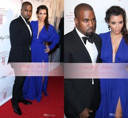 Wholesale New Kim Kardashian Celebrity Dress For Women Sexy Backless Royal Blue V Neck Long Sleeves Plus Size A Line Evening Red Carpet Gown BO1215