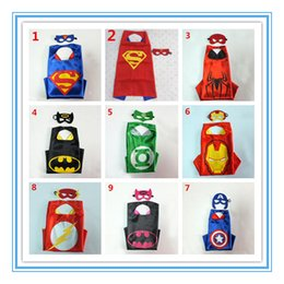 Wholesale 2015 Hot Sale L70 W70CM Double Side Batman Superman Cape Mask Reversible Superhero Cape Supergirl Cape Mask Set Party Iems