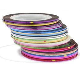 Wholesale 2014 New hot Fashion Mix Colors Rolls Striping Tape Metallic Yarn Line Nail Art Decoration Sticker