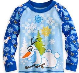 Wholesale Baby Boys Girls Frozen Pajamas Sets Kids Olaf Snowman Cartoon Pajamas Children Summer And Autumn Clothes Cotton Piece Suit