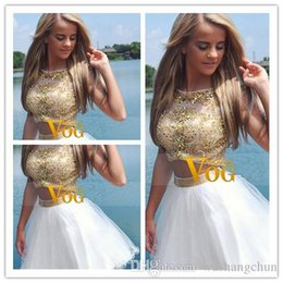 Wholesale 2015 New Two Piece A Line Short White Homecoming Dresses With Gold Beaded Bodice Tulle Prom Dress Party Gowns Scoop Mini Homecoming Dresses