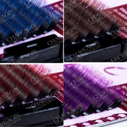 Wholesale eyelash extension synthetic individual gradient color eyelash