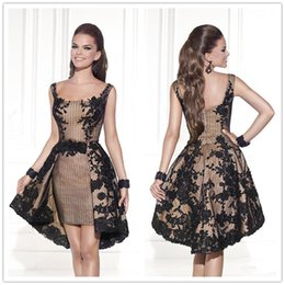 Wholesale 2016 Tarik Ediz Evening Dresses Elastic Satin Square Neck Sleevless Zipper Back Dress Appliques Empire A Line Short Homecoming Dress