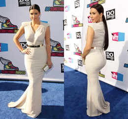 Wholesale 2015 Sexy Kim Kardashian Mermaid Evening Gowns V Neck Satin Summer Cap Sleeves Celebrity Dresses with Gold Belt Prom Dress