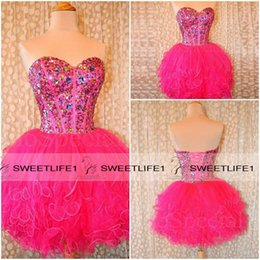Wholesale Fuchsia Ball Gown Tulle Homecoming Dresses Beaded Crystals Sweetheart Tiered Tutu Prom Party Gowns Corset Back Graduation Dresses