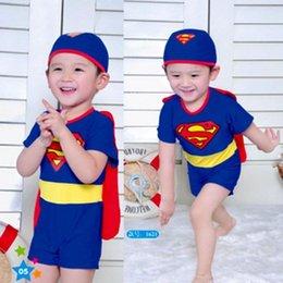 Wholesale 2015 New Kids Clothes Cartoon Baby Swimwear Boys Super hero cosplay Superman Swim Trunks Beach Baby Boy Clothes Swimwear Boy s Swimming