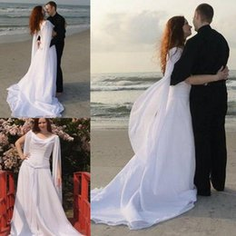 Wholesale Retro Celtic Wedding Dresses with Long Sleeves Angel Wings Flowing Chiffon Sweep Train Lace up Beach Bridal Gowns Modest Sheath Wedding Gown