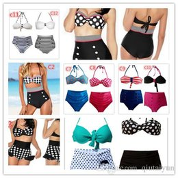 Wholesale 20COLORS Retro Push up Padded High Waist Bikini Swimsuit Vintage Bathing Suit Pin up Straps Swimwear navy stripe Beachwear B33