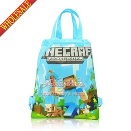 Wholesale New Arrival Minecraft My World kids Cartoon Drawstring Backpack Bag school backpack Kids Handbags drawstring bags Non woven CM