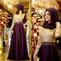 Wholesale 2016 Charming Purple Muslim Hijab Evening Dresses Long Sleeves Lace Applique Prom Party Dress Formal Wedding Gown Custom Made