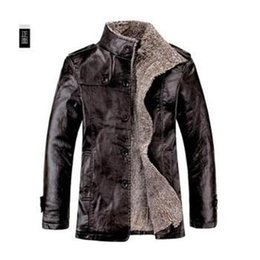 Wholesale WoolBlends Winter Male Fur Stand Collar Thickening And Wool Windbreak Waterproof Lether Jackets Leather Coat Men s Leather Jacket