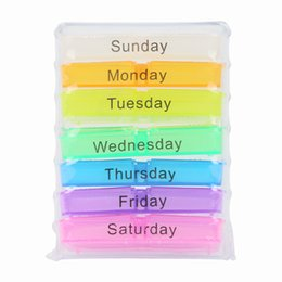 Wholesale 7 day Colorful Rainbow Drawer Type Drug Case Pill Box Medicine Organizer Week Pill Box Pack Health Care Item