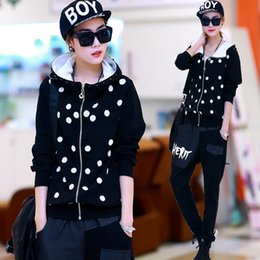 Wholesale 2015 Spring new fashion casual sports suits women harem pants dot hooded cardigan piece set sports suit for women