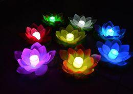 Wholesale Nuevo llega el LED de la lámpara del loto en colorido Cambiado Floating Water Pool Deseando luz Lámparas Linternas para la decoración del partido