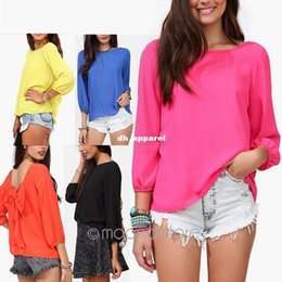 Wholesale Five Colors S XXL Fashion Women s Clothing Chiffon Shirt Summer Loose Backless Bow Blouse J CE2712 M6
