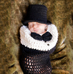 Wholesale Newborn Photography Props Crochet Baby Newborn Stretch Knit Wrap Costume Outfit Infant Crochet Hat Set Handmade