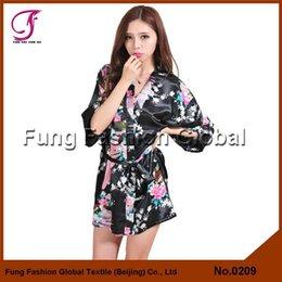 Wholesale 0209 Woman Hot Sales Short Style Colors Plus Size Silk Chinese Kimono Robe