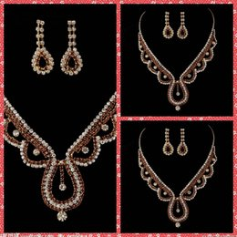 Wholesale Water Drap Luxurious Bridal Necklace And Earring Sets Of Accessories For Bridal Wedding Party Events Beaded Crystal Adorned Cheap Online