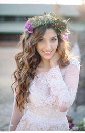 Wholesale Fall Long Poet Sleeves Boho Wedding Dresses Jewel Neck Lace Appliques Chiffon Paneled Bohemian Wedding Dresses