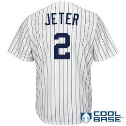 # 2 Derek Jeter Accueil Jersey Blanc Jersey Maillots New York NY Yankees Maillots # 22 Jacoby Ellsbury 42 Mariano Rivera Cool Base Maillots