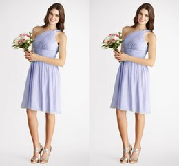 Wholesale 2015 New Fashion Sexy Floral One Shoulder Greek Goddess Sheath knee Length Lavender Chiffon Cheap Summer Beach Bridesmaid Party Dresses