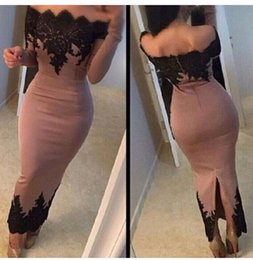 Wholesale Vestidos De Noiva Custom Made Sheath Formal Evening Dresses with Lace Appliques Slim Short Prom Gowns Bateau Long Sleeves Split Dress