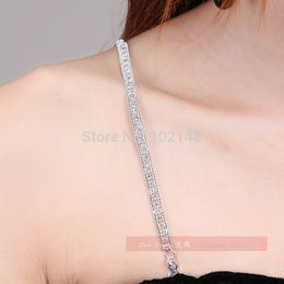 Wholesale New Wedding Bridal Silver bra straps rhinestone metal sexy lady night dancer queen shoulder jewelry adjustable metal clip