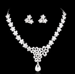 Wholesale Necklace and Earring Crystal Bridal Jewelry silver plated necklace diamond earrings Wedding jewellery sets for bride Bridesmaids women HT63