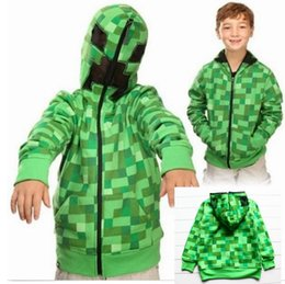 Wholesale Boys MINECRAFT Hoodied Coat Spring Winter Blue overcoat Creeper jacket kids boys GREAT T T