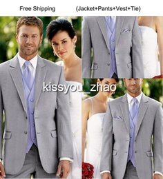Wholesale 2015 New Style Custom Made Light Grey Groom Tuxedos Notch Lapel Best Man Groomsman Men Wedding Suits Jacket Pants Vest Tie trajes de novio