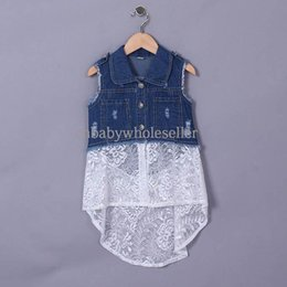Wholesale 2015 New Arrivals Girl Vest Cotton Sleeveless Summer Denim Waistcoat With Lace Vest For Infant Casual Kids Clothing GD50328
