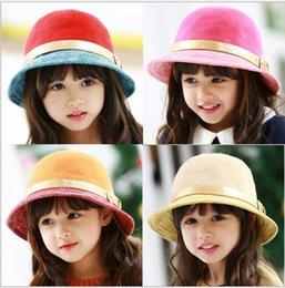 Wholesale Belt Buckle Baby girls fashion hats match color children winter autumn hat kids cap bucket hat