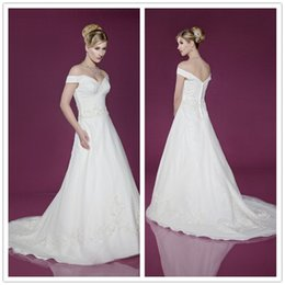 Wholesale Hot Sale Exquisite Wedding Dresses A Line V Neck Short Sleeve Floor Length Sweep Train Lace Applique Soft Satin Zipper Bridal Gowns A12