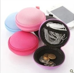 Wholesale Circle earphones package coin purse storage bag coin case wallet