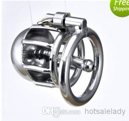 Wholesale HOTSALE Latest design Stainless steel Male chastity devices More short Cage Urethral Tube Coming PC METAL ANAL PLUG
